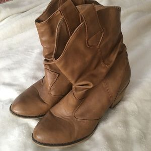 Tan Mid Calf Cowgirl Boots